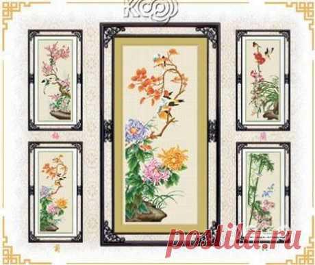 Китайские цветы. Вышивка крестом. Вторая часть из четырех
