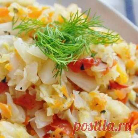 Тушеная капуста с овощами - 0% жира - рецепт с рачетом калорийности и БЖУ