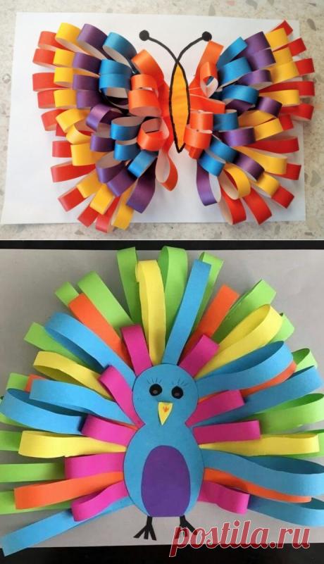 Аппликации с бумажными полосками-«петельками» — Поделки с детьми