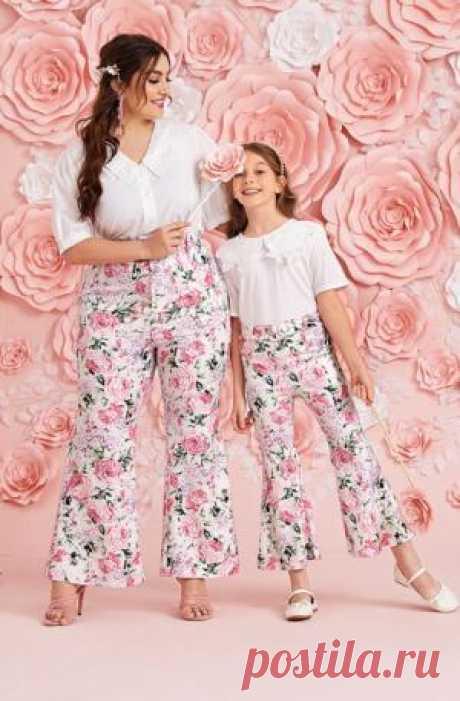 Брюки-клеш женские SHEIN большие размеры + одинаковые для девочки  Цена  - 749 ₽.  Цветочный принт; Размеры — 0XL, 1XL, 2XL, 3XL, 4XL. Детские размеры - 122-152, 7-12 лет.  Можно купить брюки женские отдельно, а можно в комплекте с одинаковыми детскими - для девочки. Каждый товар продается отдельно. На сайте продавца-партнера есть удобная ссылка для перехода на смежный товар.