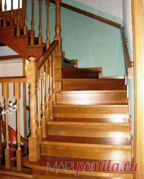 Изготовление лестниц, ограждений, перил Маршаг – Деревянная лестница и перила из массива дуба