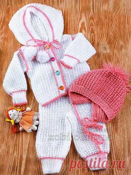 белый комплект тройка для малыша: жакет, штанишки и шапочка