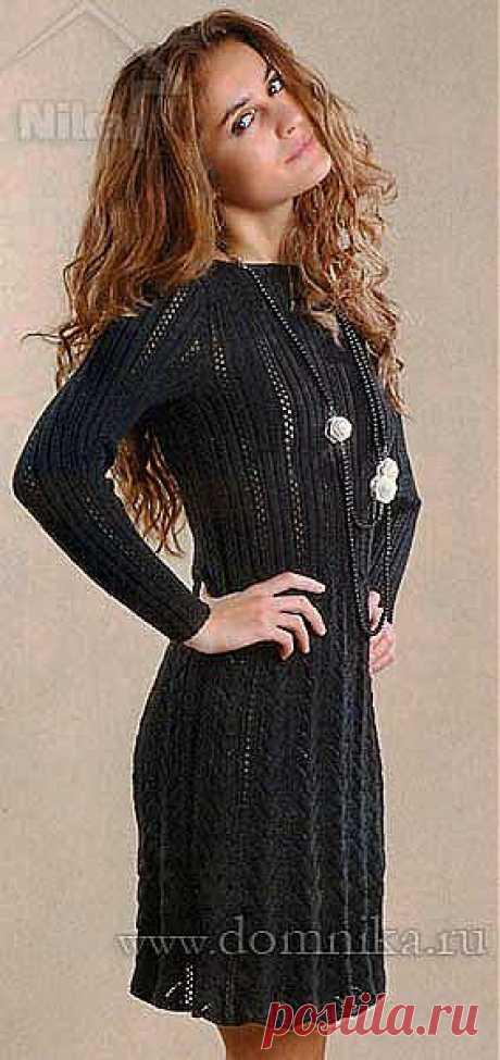 Черное вязаное платье спицами » Вязание крючком и спицами схемы и модели