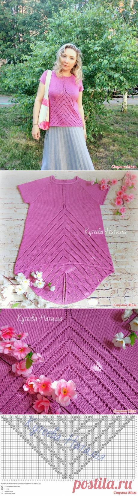 """Розовый джемпер """"Angles"""" спицами - Вязание - Страна Мам"""