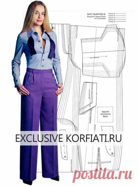 Готовая выкройка широких брюк на 5 размеров от А. Корфиати