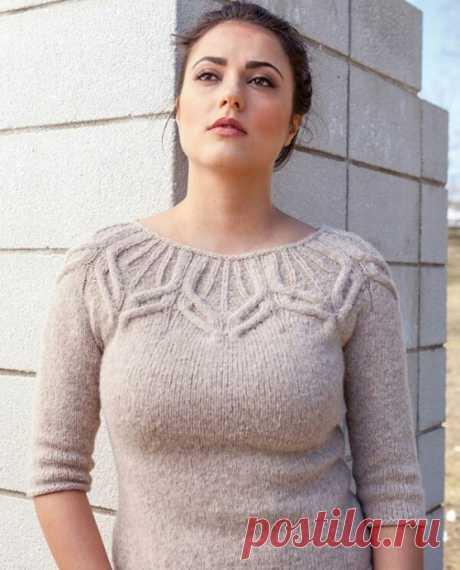Пуловер с изящной кокеткой из категории Интересные идеи – Вязаные идеи, идеи для вязания