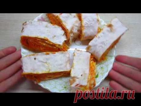 Рулет из лаваша с сырно -  морковной начинкой. - YouTube