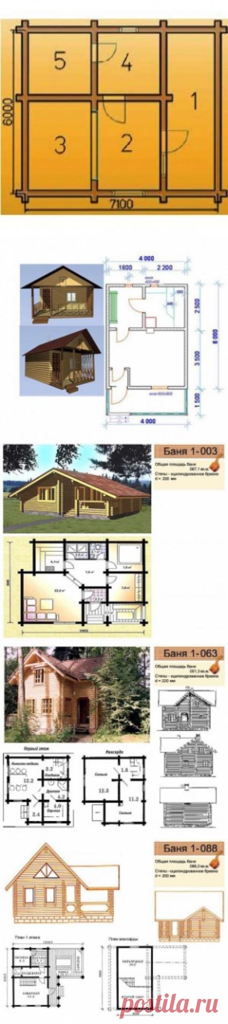 Чертежи бани: особенности планировки строения