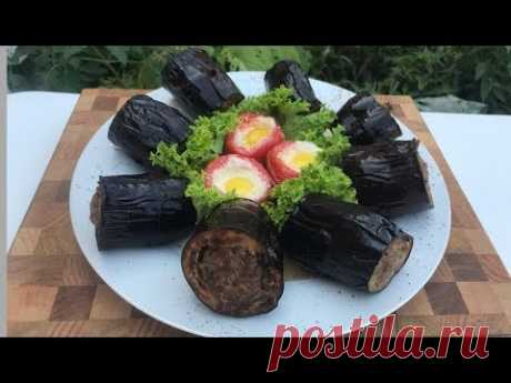 баклажан с помидорами на мангале с сырным фаршем баклажан кебаб