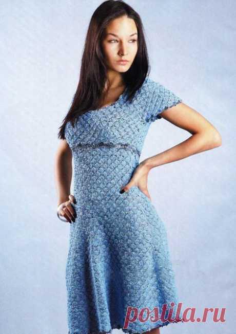 Красивое ажурное платье вязанное крючком - подробная схема и описание Схема вязания крючком ажурного платья - подробная хсема и описание