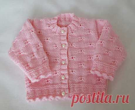 40fc74305b52a4 Knitted Baby Sweater - Hand Knit Pink Cardigan - Girls Sweater - Handmade  Baby Clothes -