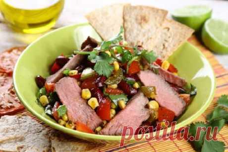 Салат с жареной говядиной по-мексикански – пошаговый рецепт с фото.