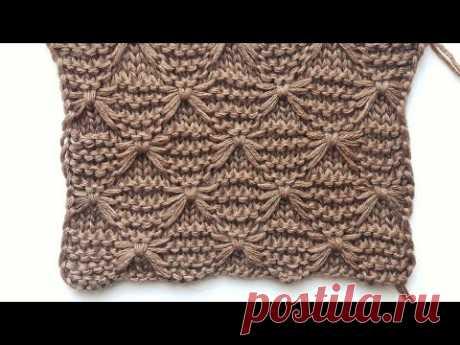Интересный рельефный узор спицами Паучки ( бабочки) для вязания джемперов, шапок, пледов