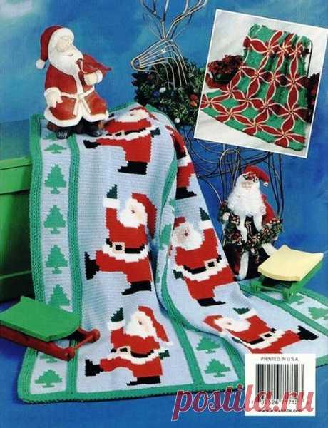 Вязаный крючком новогодний плед с дедом Морозом и елочками. Схема