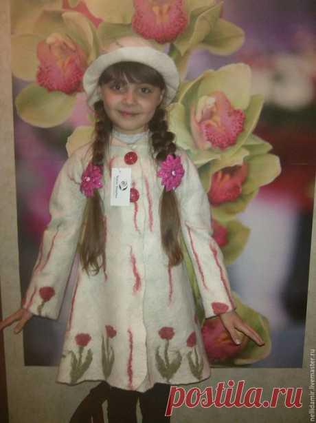Купить Пальто и шляпа на девочку - белый, цветочный, валяное пальто, валяная одежда, одежда для девочек