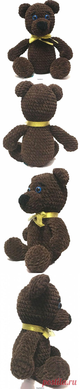 Плюшевый, сидячий медведь с золотистой бабочкой игрушка, 30смМастерская рукоделия Анны Ганоцкой