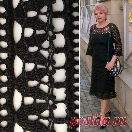 Черное ажурное платье с круглой кокеткой - Lilia Vignan