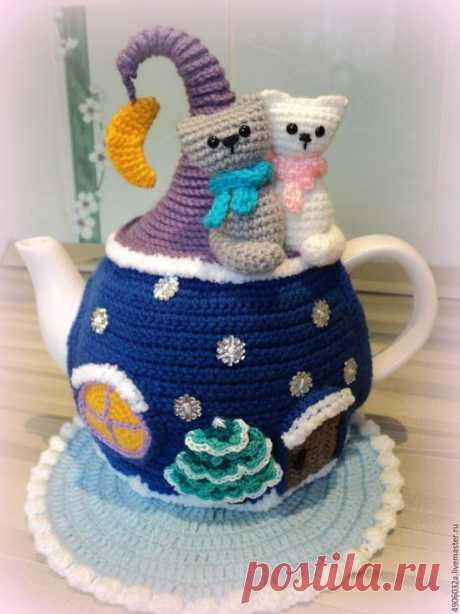 """Купить Грелка с чайником """"Зимняя сказка"""" - тёмно-синий, грелка на чайник, для кухни, интерьер"""