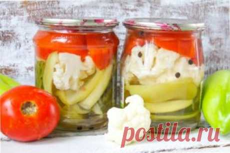 Овощное ассорти на зиму с цветной капустой: рецепт с фото