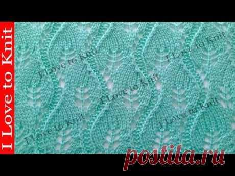 Узор весенние листья  Вязание спицами со схемой и описанием