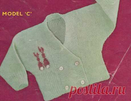 4dd23eaf6bead vintage baby knitting pattern for 3 ply cardigan with bunny motif in size  3-6m