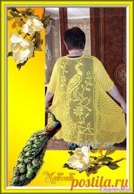 Вязаная крючком туника. Филейное вязание   Женская одежда крючком. Схемы и описание