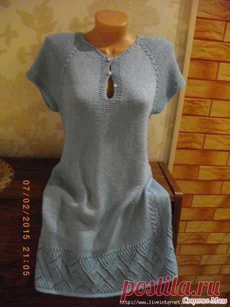 """Платье """"Лазурь"""" спицами."""