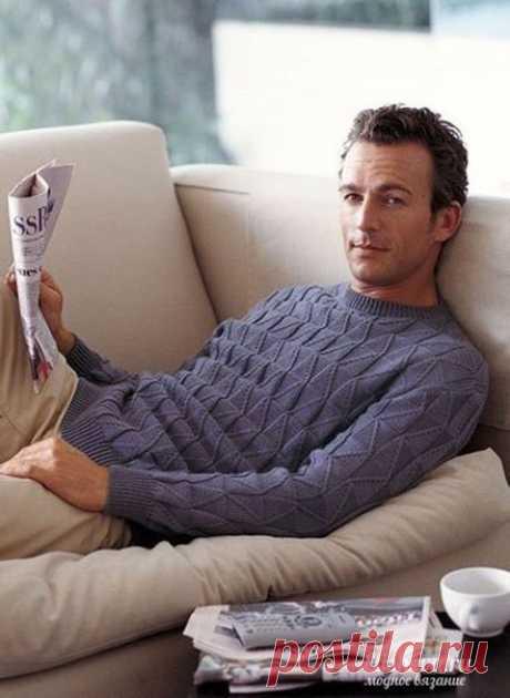 """Мужской пуловер """"Ромбики"""" вязаный спицами из категории Интересные идеи – Вязаные идеи, идеи для вязания"""