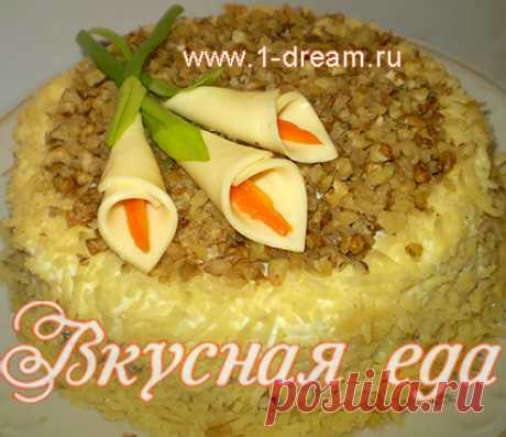 Вкуснейший слоеный салат с курицей, ананасами и шампиньонами от Вкусной еды
