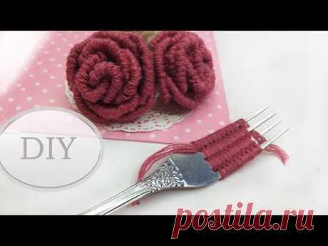 DIY🌹  Роза на вилке | Easy Woolen Rose with Scale | Como hacer una rose con un tenedor 🌹 - YouTube