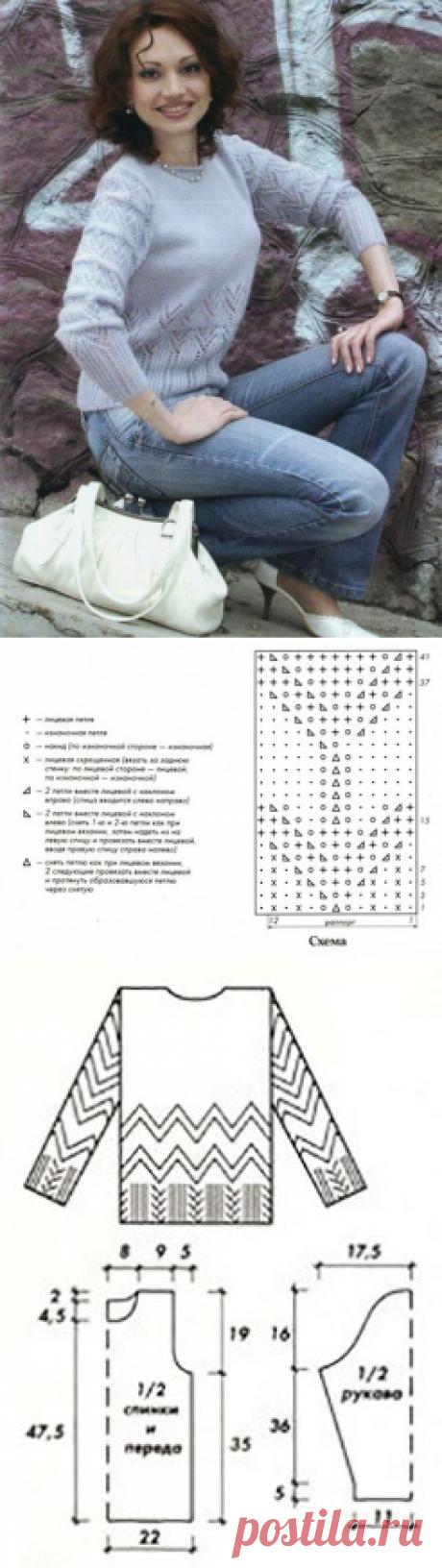Женственный пуловер с ажурными узорами спицами – схема с описанием — Пошивчик одежды