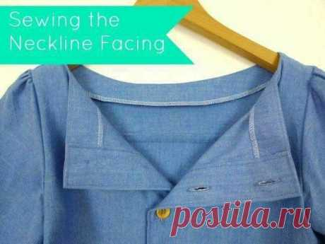 Обтачка горловины на рубашке без воротника