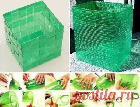 Плетем корзину из пластиковой бутылки своими руками!