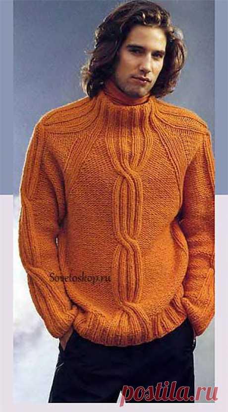 Пуловер реглан с косами.