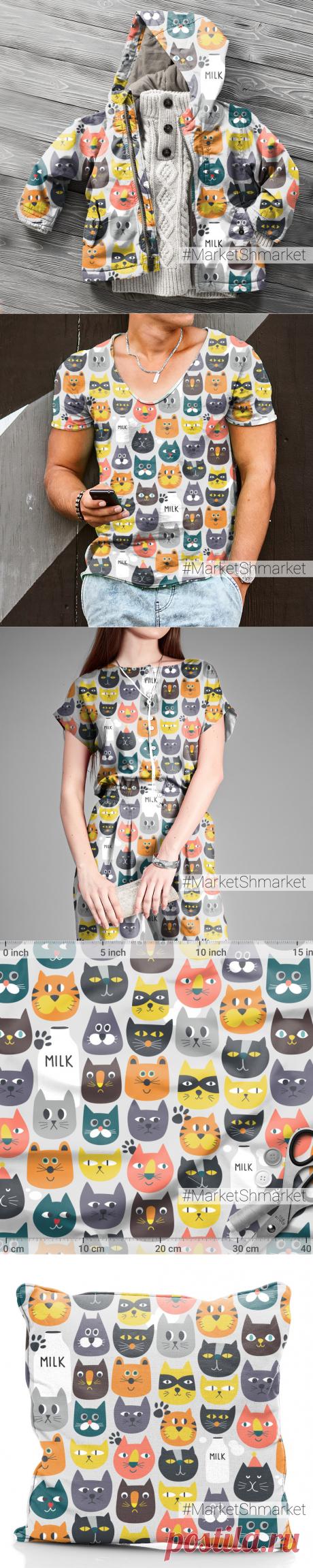Ткань Коты и кошки и котята - закажи на #MarketShmarket.com любая ткань с любым принтом