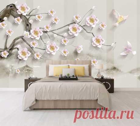 3Д цветы на фоне в японском стиле