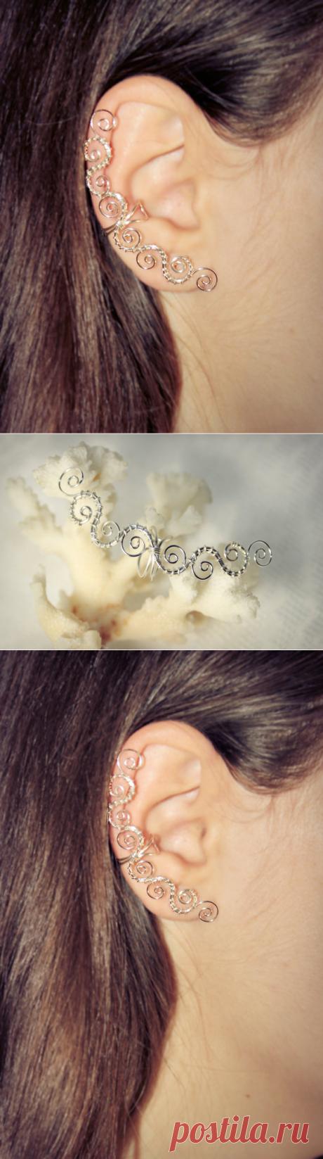 Pierced silvering Ear Cuff rock\/goth\/art deco\/boho from Flamens