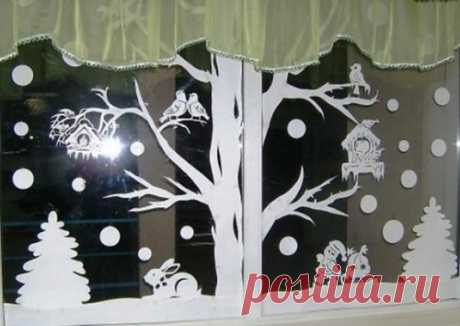 Decoration of windows by New 2018 – templates (cliches) for printing: How to decorate windows for New year with the hands in kindergarten, school and at home