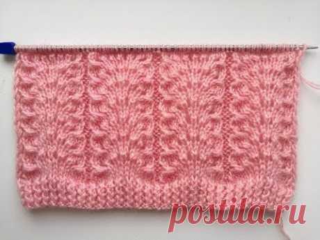 Красивый и простой ажурный узор спицами для вязания джемпера и свитера