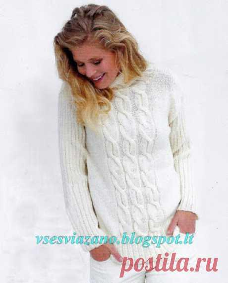 ВСЕ СВЯЗАНО. ROSOMAHA.: Белый зимний свитер с косами.