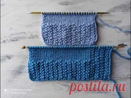 Очень простой узор спицами для вязания планки и отделки  изделий.