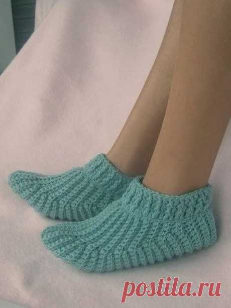 Носочки-тапочки (Вязание крючком) – Журнал Вдохновение Рукодельницы