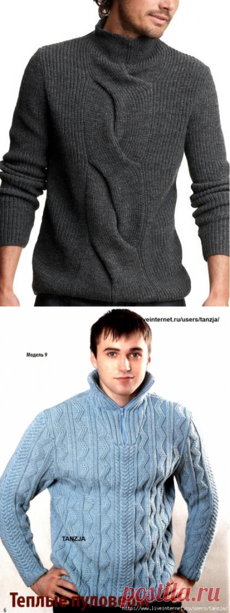 модные мужские свитера спицами - Сумки