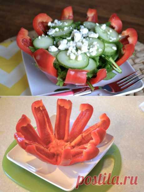 Яркое оформление салатика в болгарском перце.