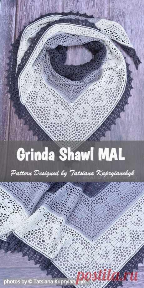 [Easy] Grinda Shawl MAL Free Crochet Pattern