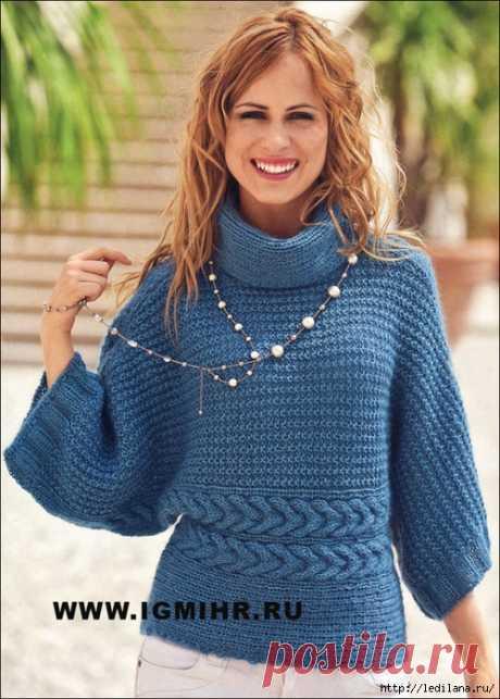 Вязание.Спицы.Пуловер-кимоно единым полотном
