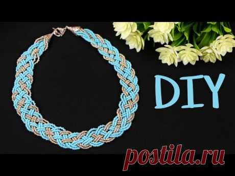 """Necklace from beads the hands \""""Braid\"""" from 5 locks \/ DIY 5 Strand Braid Beaded Necklace"""