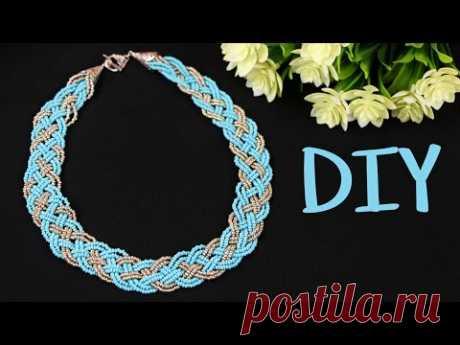 """Колье из бисера своими руками """"Косичка"""" из 5 прядей / DIY 5 Strand Braid Beaded Necklace"""