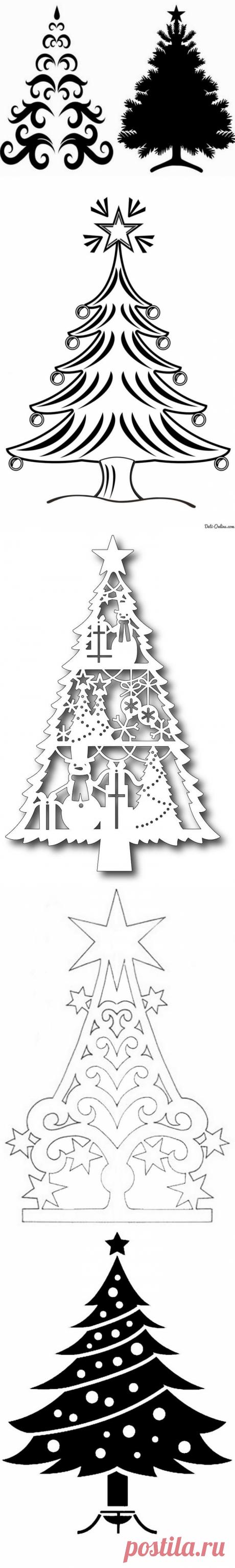 Шаблоны елки на окна к Новому году 2021 для вырезания формата А4 (распечатать)