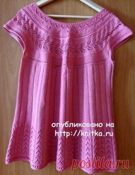 Розовый топ спицами – работа Надежды Лавровой, Вязание для женщин
